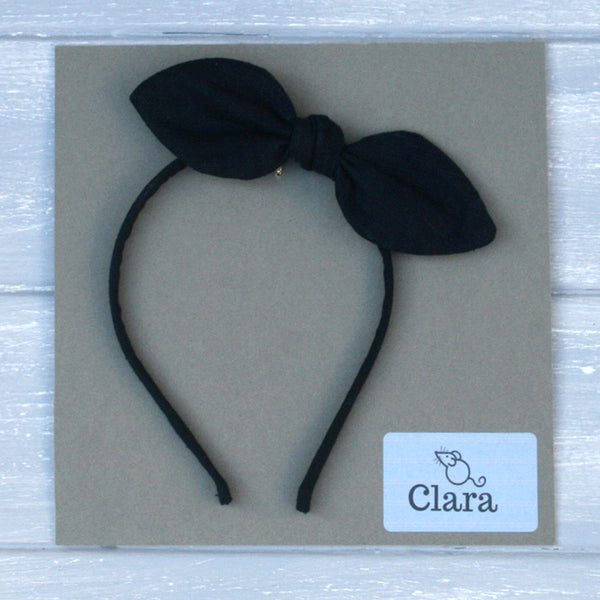 Childrens Linen Bow Hairband Navy