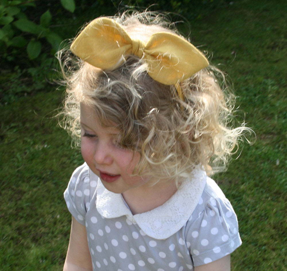Childrens Linen Bow Hairband