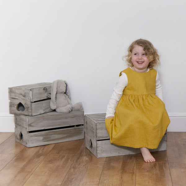 Childrens Linen Pinafore Dress Gold