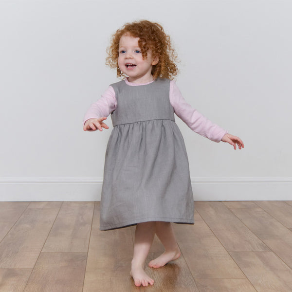 Childrens Linen Pinafore Dress Grey