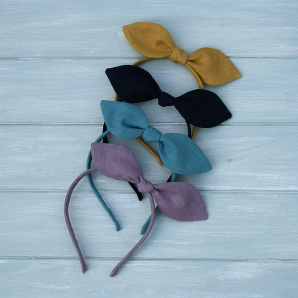 Childrens Linen Bow Hairband Colour options