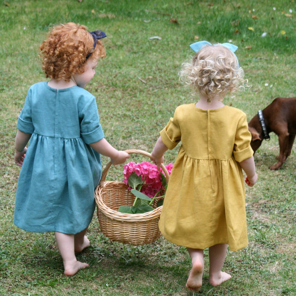 Childrens Linen Dress Reverse