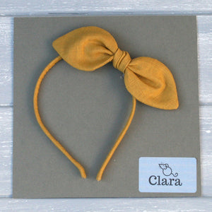 Childrens Linen Bow Hairband Gold