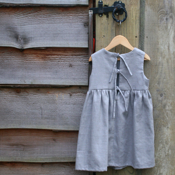Childrens Linen Pinafore Dress Reverse
