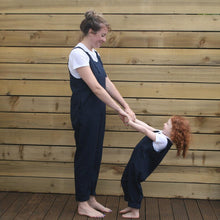 Load image into Gallery viewer, Navy Linen Dungarees