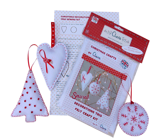 Christmas Trio of decorations Felt Craft Sewing Kit