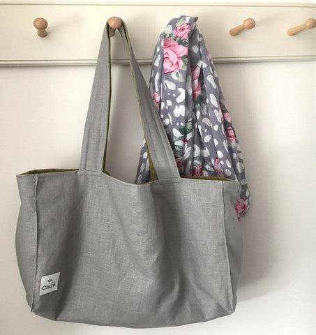 Reversable Linen Shopping Bag