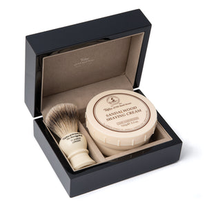 Sandalwood Shaving Cream & Super Badger Shaving Brush in Wooden Gift Box