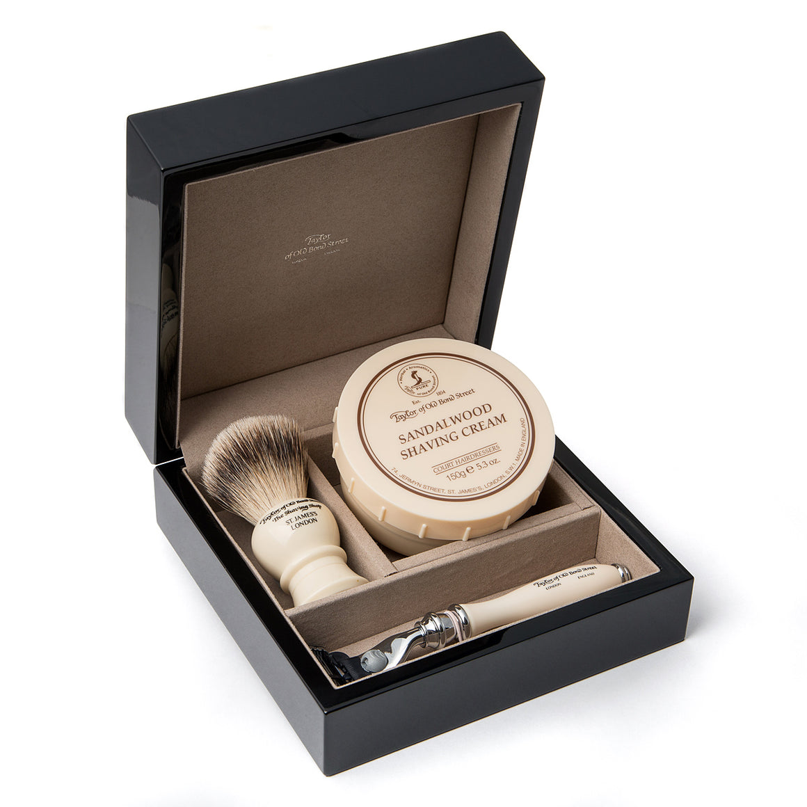 Razor, Brush and Sandalwood Shaving Cream in Wooden Gift Box