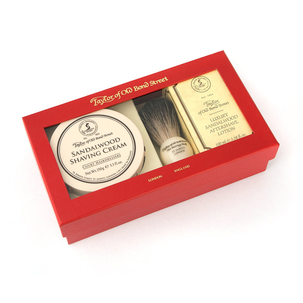 Pure Badger Brush, Sandalwood Shaving Cream and Aftershave Gift Box