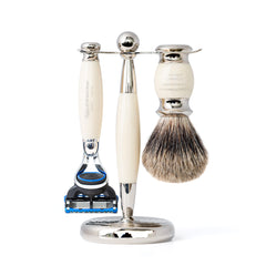 Mens razor and badger brush shaving set