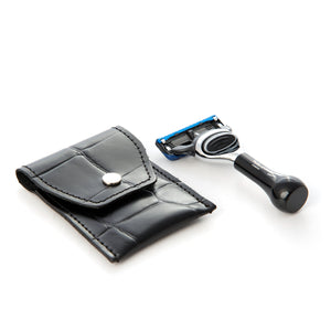 Mini Black Travel Fusion Razor in Leather pouch