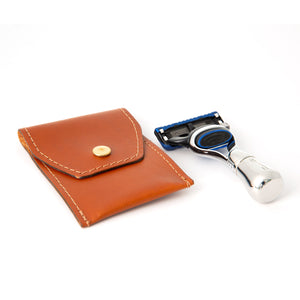 Mini Nickel Travel Fusion Razor in Leather Pouch