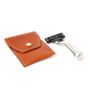 Mini Nickel Travel Mach3 Razor in Leather Pouch