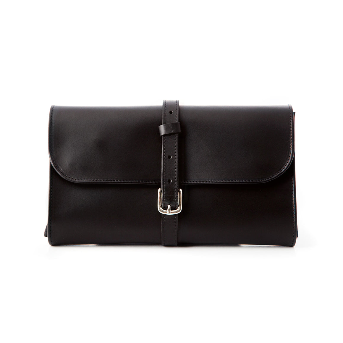 Black Leather Hanging Wash Bag