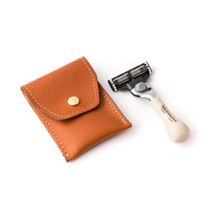 Taylor of Old Bond Street Mini Imitation Ivory Travel Mach3 Razor in Leather pouch