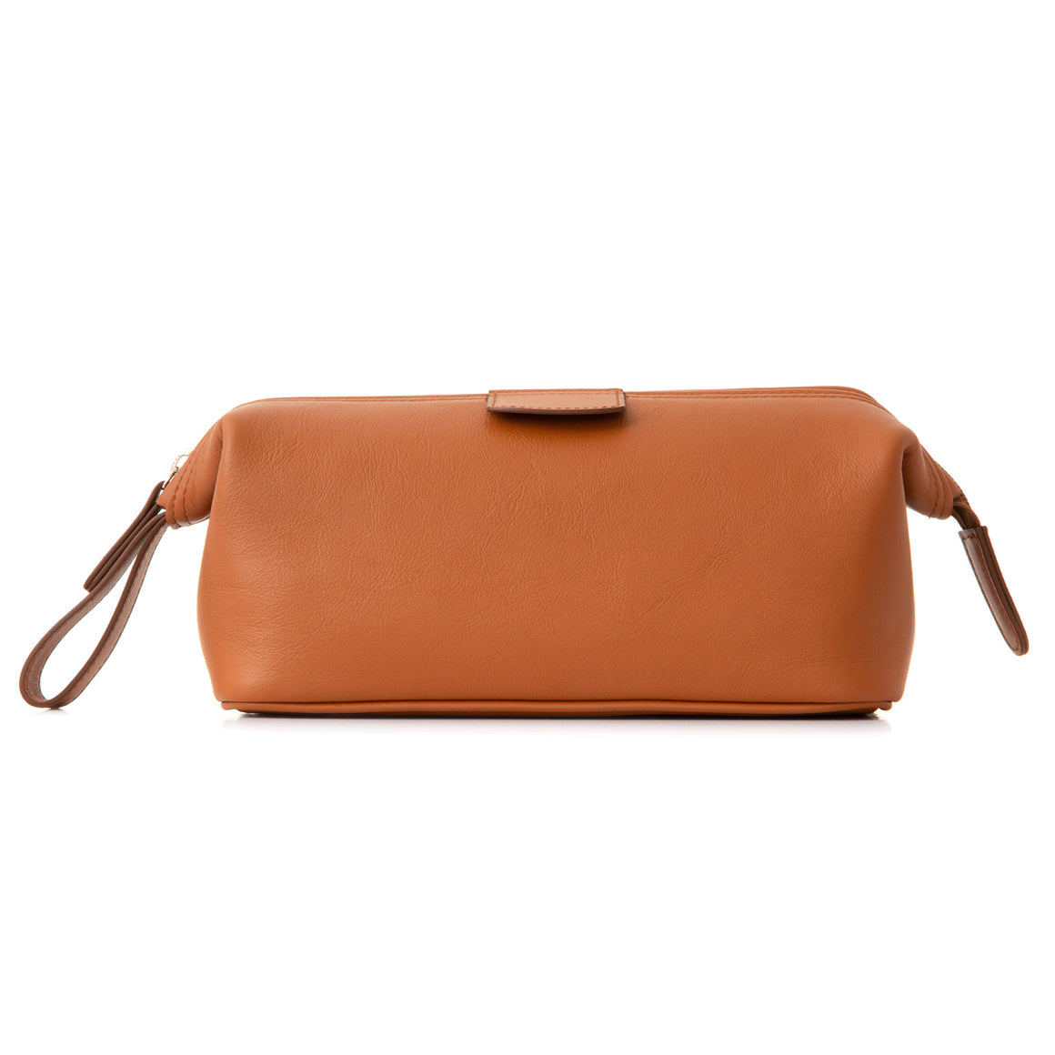 Medium Light Tan Leather Wash Bag