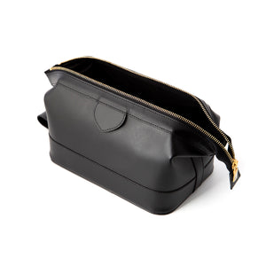 Medium Black Leather Wash Bag