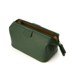 Medium Green Leather Wash Bag