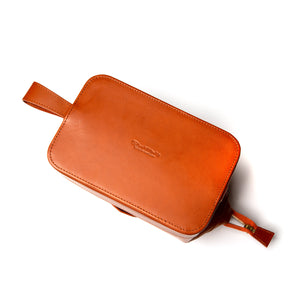 Medium Tan Leather Wash Bag