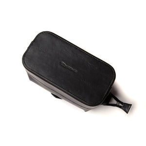 Small Black Leather Wash Bag