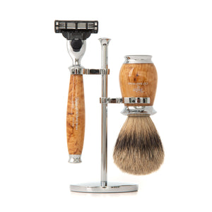 Super Mach3 Shaving Set in Birch Wood