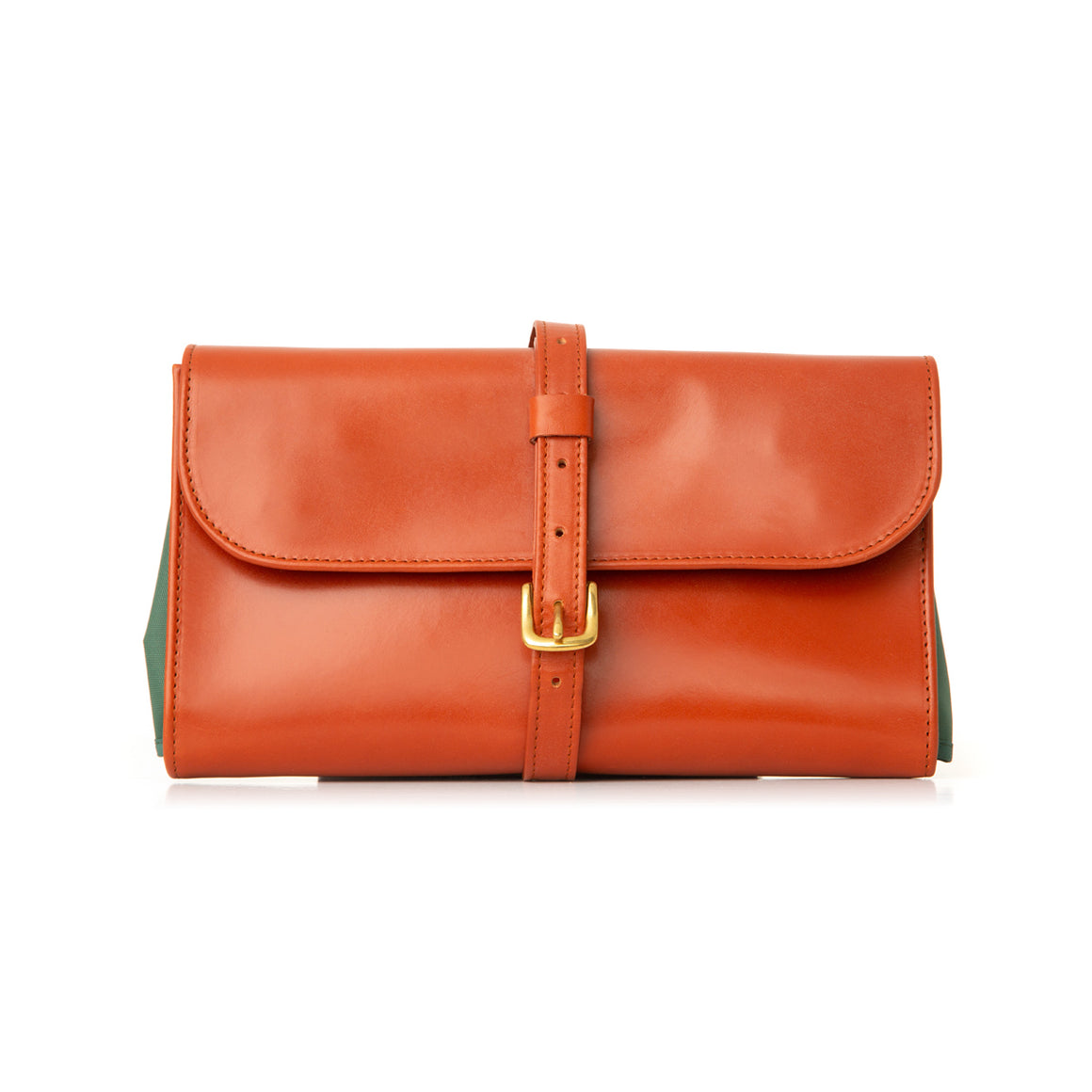 Tan Leather Hanging Wash Bag