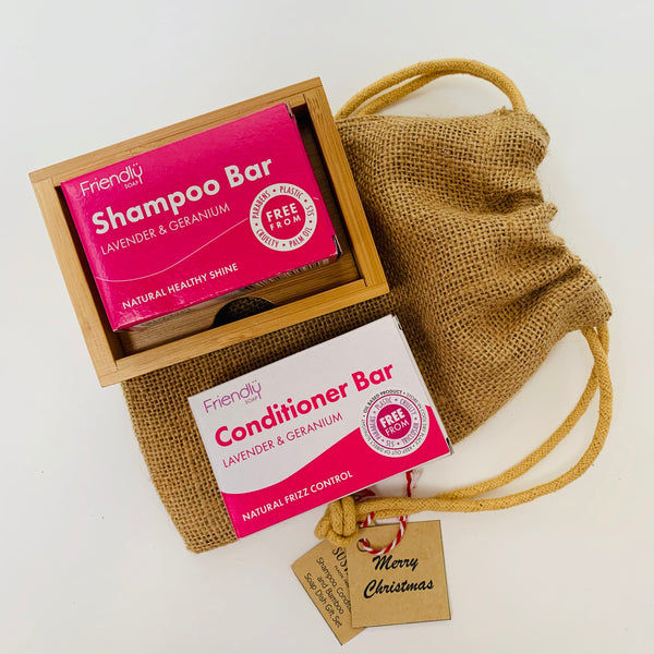 Hair Care and Bamboo Soap Dish Gift Set