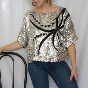 (XL) Silk Sequin Top - Rose Girls Vintage