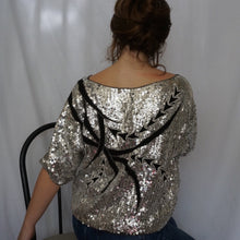 Load image into Gallery viewer, (XL) Silk Sequin Top - Rose Girls Vintage