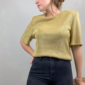 (M) Gold Glitter Top - Rose Girls Vintage