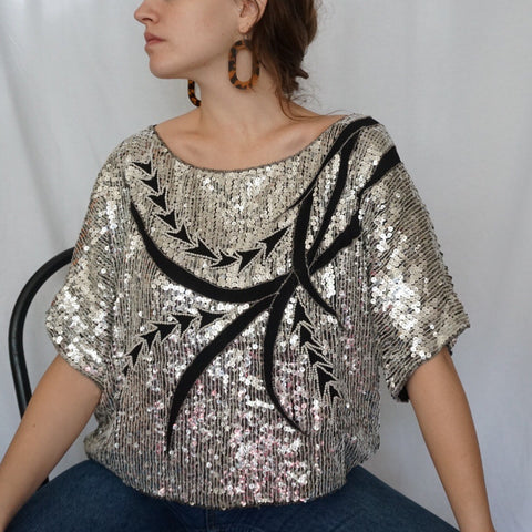 Silk Sequin Top - Rose Girls Vintage