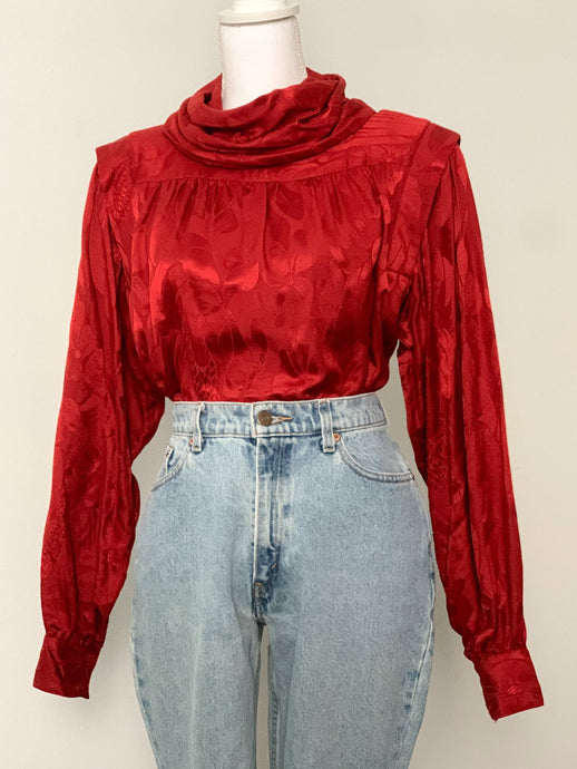 Red Silk Blouse - Rose Girls Vintage