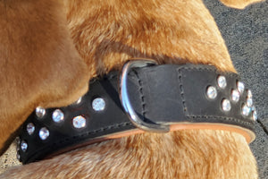 Glam Rhinestone Leather Collar