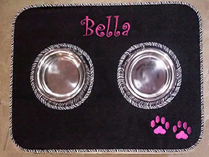 Personalized Pet Diner Mat Stainless Steel Bowl Set
