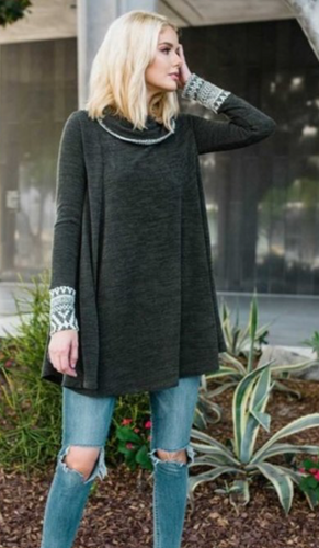 Aztec Cowl Neck Sweater