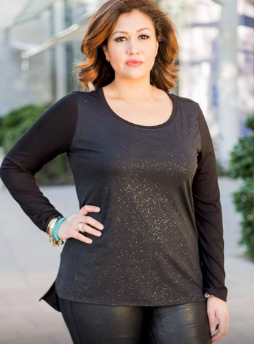 Black Sparkle Top - Plus Size