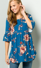 Load image into Gallery viewer, Sweet Lovely Teal Floral Top