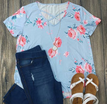 Load image into Gallery viewer, Sky Blue Floral Criss Cross Top - Plus Size
