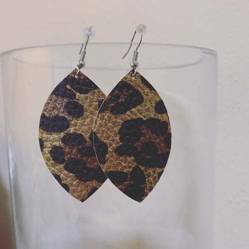 Cheetah Leather Earrings