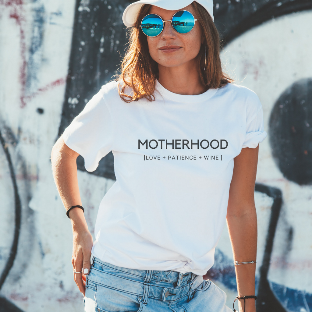 Motherhood Love, Patience and Wine Short-Sleeve Unisex T-Shirt