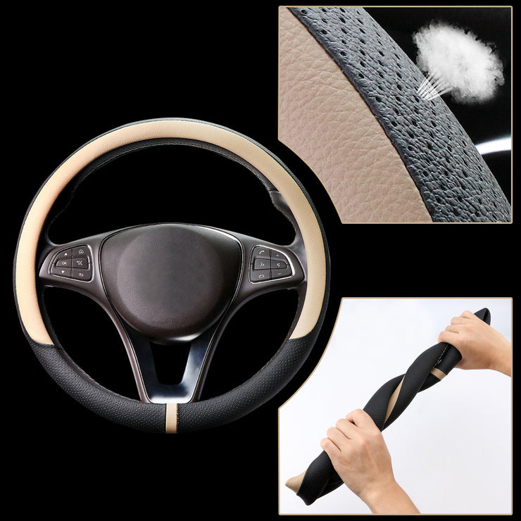 COFIT Breathable and Non Slip Microfiber Leather Steering Wheel Cover Universal - Beige and Black
