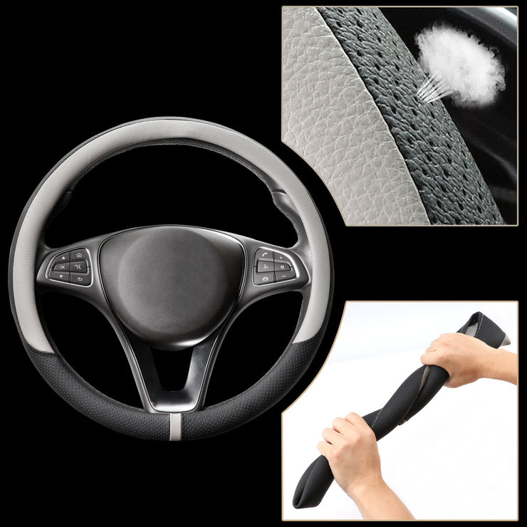 COFIT Breathable and Non Slip Microfiber Leather Steering Wheel Cover Universal - Gray and Black