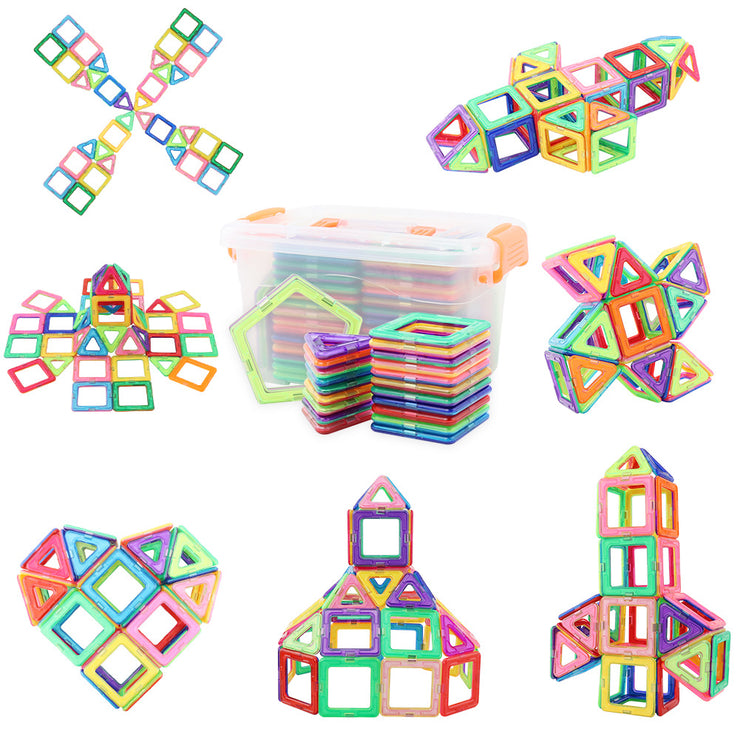 Grand Line Magnetic Building Block Set 66PCS Creative Educational Toys,3D Building Colorful Tiles for Boys, Girls with Storage Box