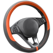 COFIT Breathable and Non Slip Microfiber Leather Steering Wheel Cover Universal 15 Inch - Orange and Black