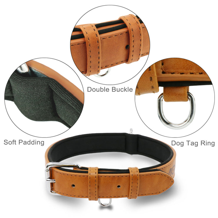 Grand Line Dog Collar Adjustable Neoprene Padded Leather Available in 4 Sizes & 1 Color , Brown