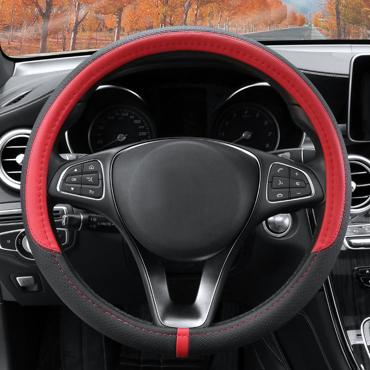 COFIT Breathable and Non Slip Microfiber Leather Steering Wheel Cover Universal 15 Inch - Red and Black