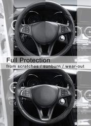 Cofit Microfiber Leather Steering Wheel Cover Universal Size 37-38cm Black