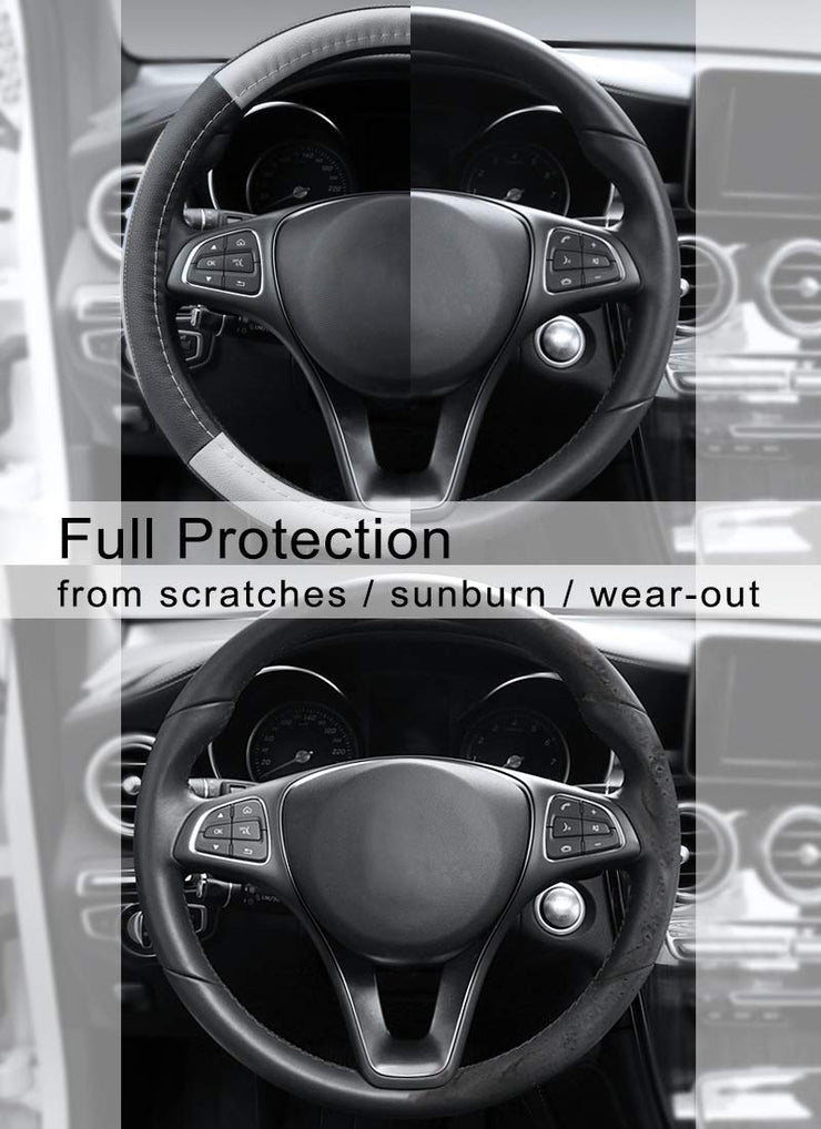 Cofit Microfiber Leather Steering Wheel Cover Universal Size 37-38cm Grey and Black