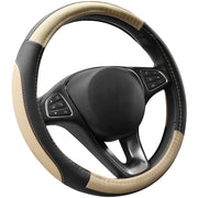 Cofit Microfiber Leather Steering Wheel Cover Universal Size 37-38cm Beige and Black